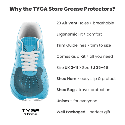 TYGA Store - Shoe Shield Kit Crease Protector Preventer Sneaker Protect AF1 Yes's Uggs Nike Adidas Puma Universal Male Female Unisex Ultimate Trainer Horn Carry Bag Black