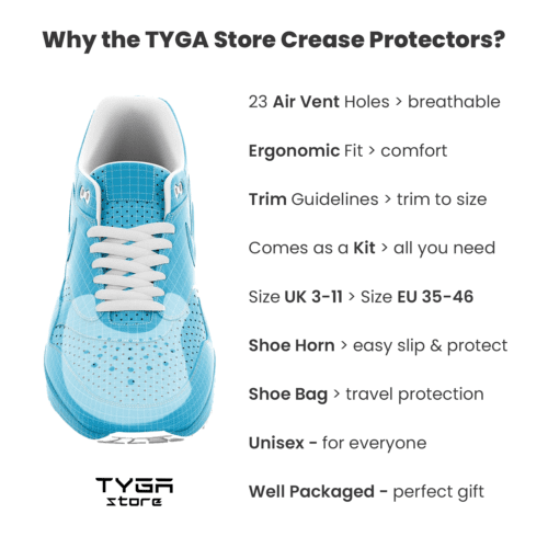 TYGA Store - Shoe Shield Kit Crease Protector Preventer Sneaker Protect AF1 Yes's Uggs Nike Adidas Puma Universal Male Female Unisex Ultimate Trainer Horn Carry Bag White